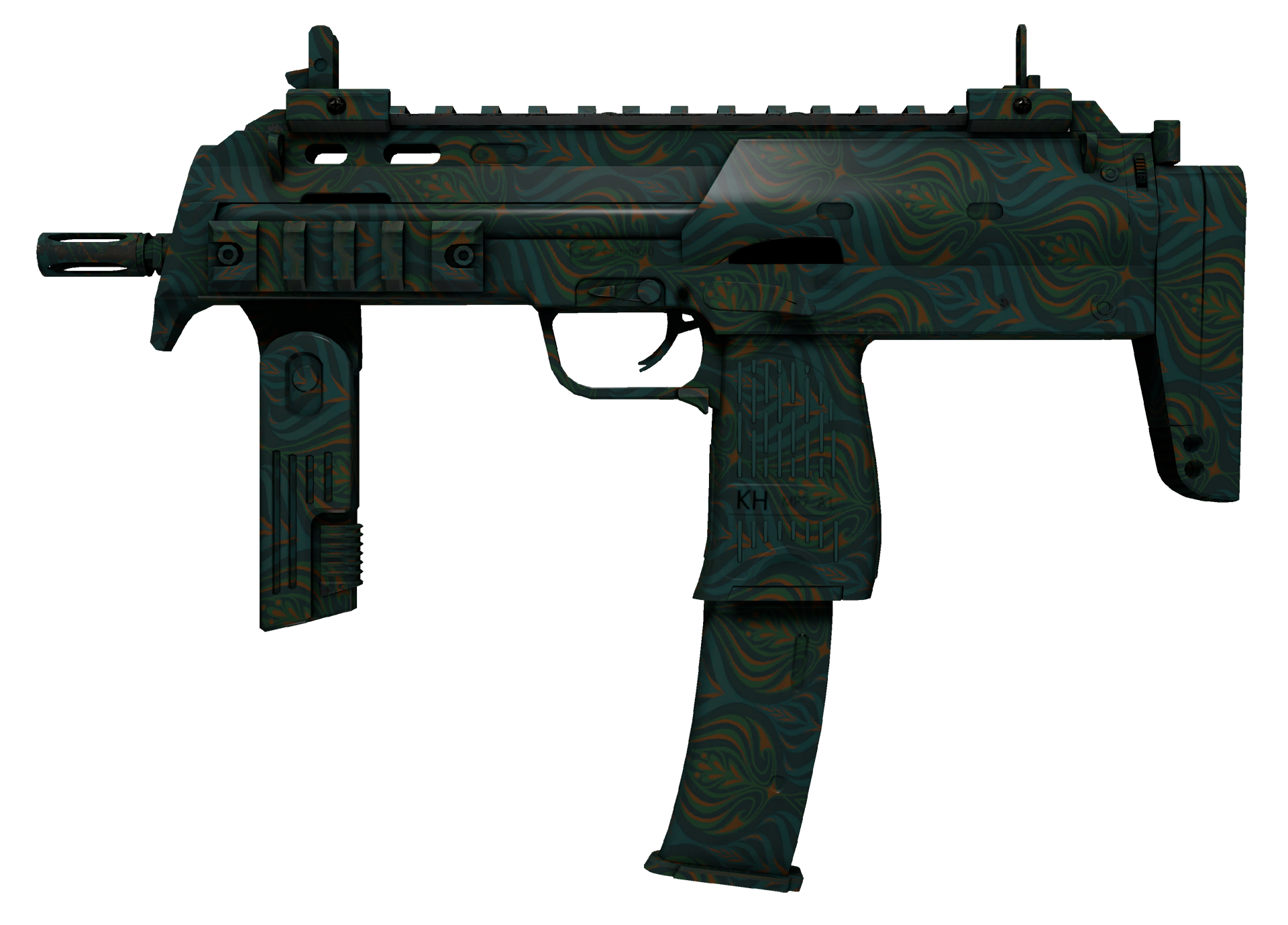 MP7 Teal Blossom Large Rendering