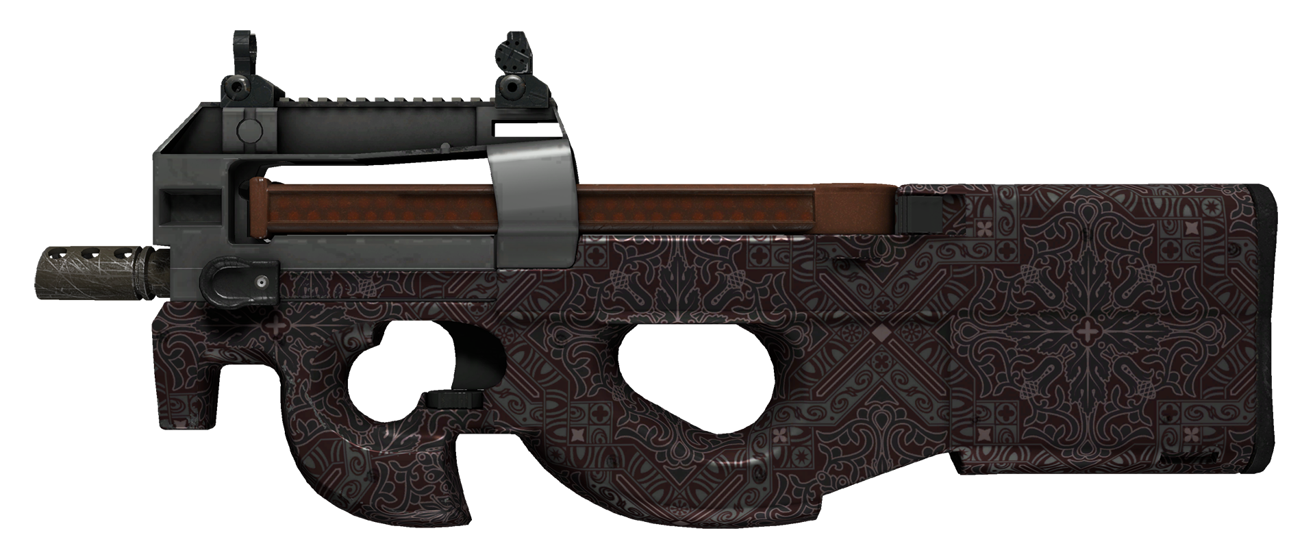 P90 Baroque Red Large Rendering